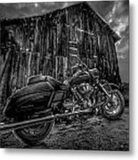 Outside The Barn Bw Metal Print