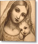 Oval Madonna Drawing Metal Print