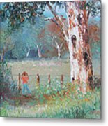 Over The Fence By Jan Matson Metal Print