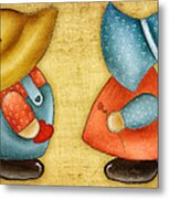 Overall Sam And Sunbonnet Sue Metal Print by Brenda Bryant
