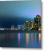 Overcast Miami Night Skyline Metal Print