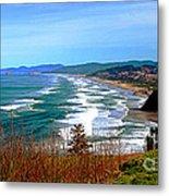 Overlooking Proposal Rock Cape Lookout Haystack Rock And Cape Kiwanda Metal Print by Margaret Hood