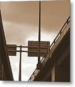 Overpass In Sepia Metal Print