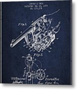 Owen Revolver Patent Drawing From 1899- Navy Blue Metal Print