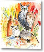 Owl Family In Velez Rubio Metal Print