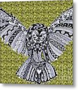 Owl In Flight Green Metal Print