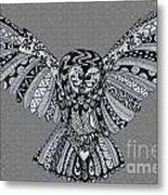 Owl In Flight Grey Metal Print