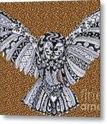 Owl In Flight Leopard Metal Print