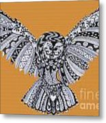 Owl In Flight Orange Metal Print