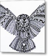 Owl In Flight Original Metal Print