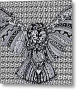 Owl In Flight Pattern Metal Print
