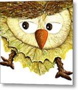 Owl Leaf 3 Metal Print
