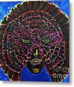 Owl Mask Self Portrait Metal Print