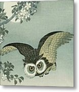 Owl - Moon - Cherry Blossoms Metal Print