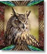 Owl With Collage Border Metal Print