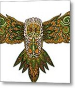 Owl Yellow Metal Print