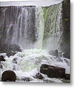 Oxarafoss Waterfall Metal Print