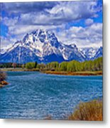 Oxbow Bend In Spring Metal Print