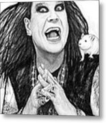 Ozzy Osbourne Art Drawing Sketch Portrait Metal Print