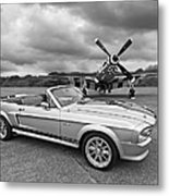 P51 Meets Eleanor In Black And White Metal Print