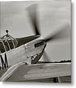 P51 Mustang Takeoff Ready Metal Print by M K  Miller