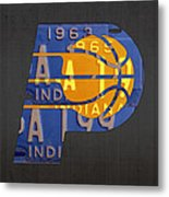 Pacers Basketball Team Logo Vintage Recycled Indiana License Plate Art Metal Print