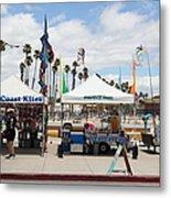 Pacific Coast Kites And Paradise Dogs On The Municipal Wharf At The Santa Cruz Beach Boardwalk Calif Metal Print