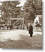 Pacific Grove Retreat Gate On Lighthouse At Grand Aves  With  O. J. Johnson Circa 1880 Metal Print