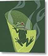 Pacific Tree Frog In Skunk Cabbage Metal Print
