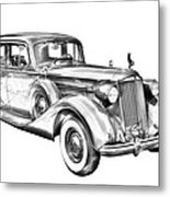Packard Luxury Antique Car Illustration Metal Print