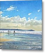 Paddling At The Edge Metal Print