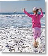 Paddling In The Ocean Metal Print