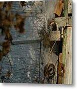 padlocked old wood door abandoned Streetman Texas Metal Print