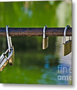 Padlocks Metal Print by Victoria Herrera