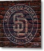 Padres Baseball Graffiti On Brick  Metal Print by Movie Poster Prints