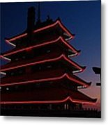 Pagoda At Sunset Metal Print