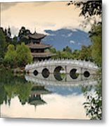 Pagoda, Black Dragon Pool, Lijang Metal Print
