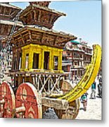 Pagoda-style Carriage In Bhaktapur Durbar Square In Bhaktapur-nepal Metal Print