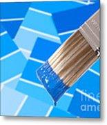Paint Brush - Blue Metal Print