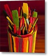 Paint Can And Paint Brushes Still Life Metal Print