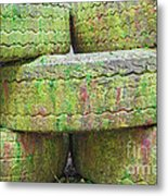 Paint Covered Barricade Made Of Tires On Paintball Field Metal Print