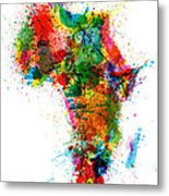 Paint Splashes Map Of Africa Map Metal Print by Michael Tompsett
