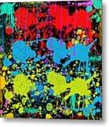 Paint Splatter - Black Metal Print