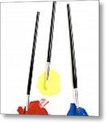 Paintbrush And Paint Tubes Metal Print