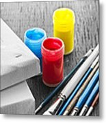 Paintbrushes With Canvas Metal Print