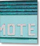 Painted Blue-green Historic Motel Facade Siding Metal Print
