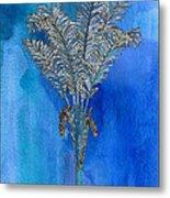 Painted Blue Palm Metal Print