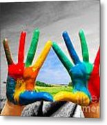 Painted Colorful Hands Showing Way To Colorful Happy Life Metal Print