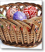 painted Easter Eggs in wicker basket Metal Print