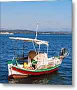 Painted Fishing Boat In Corfu Greece Metal Print